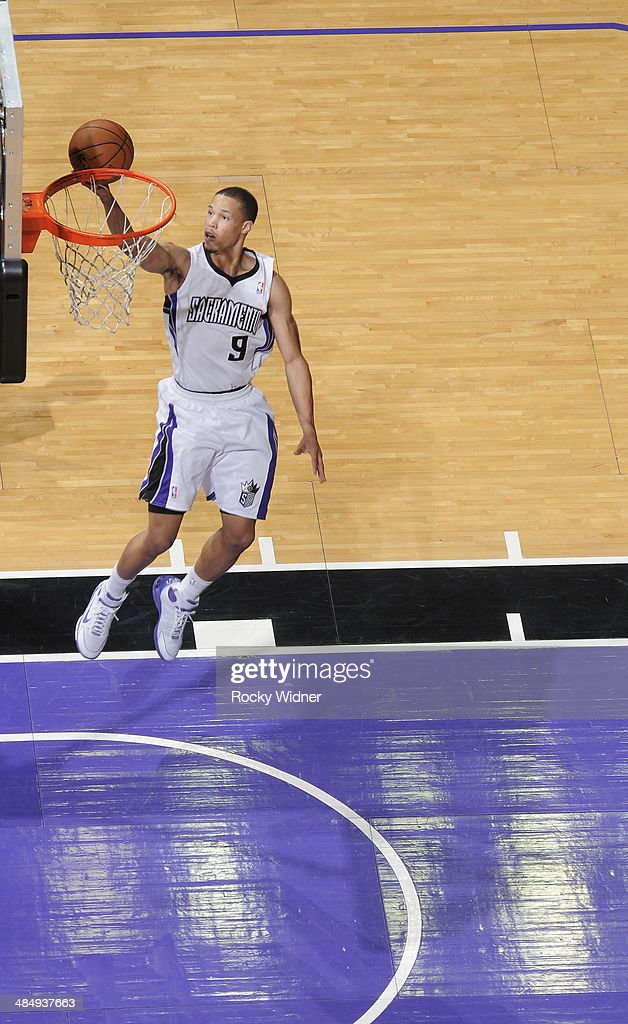 Jared Cunningham #9 of the Sacramento Kings shoots a layup against the Oklahoma City Thunder on April 8, 2014 at Sleep Train Arena in Sacramento, California.
