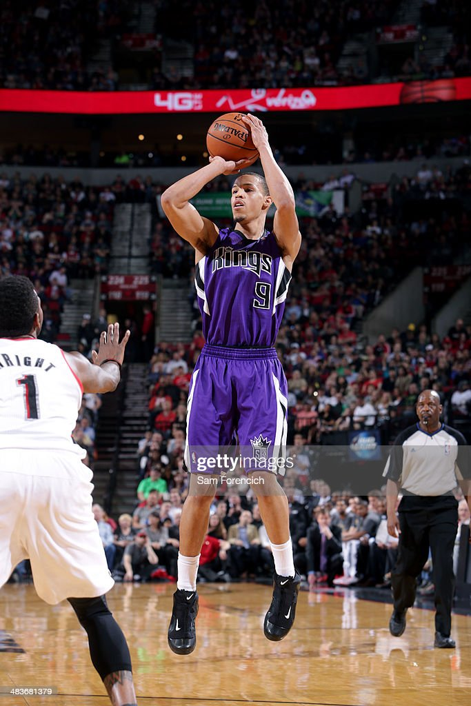Jared Cunningham #9 of the Sacramento Kings shoots against the Portland Trail Blazers on April 9, 2014 at the Moda Center Arena in Portland, Oregon.