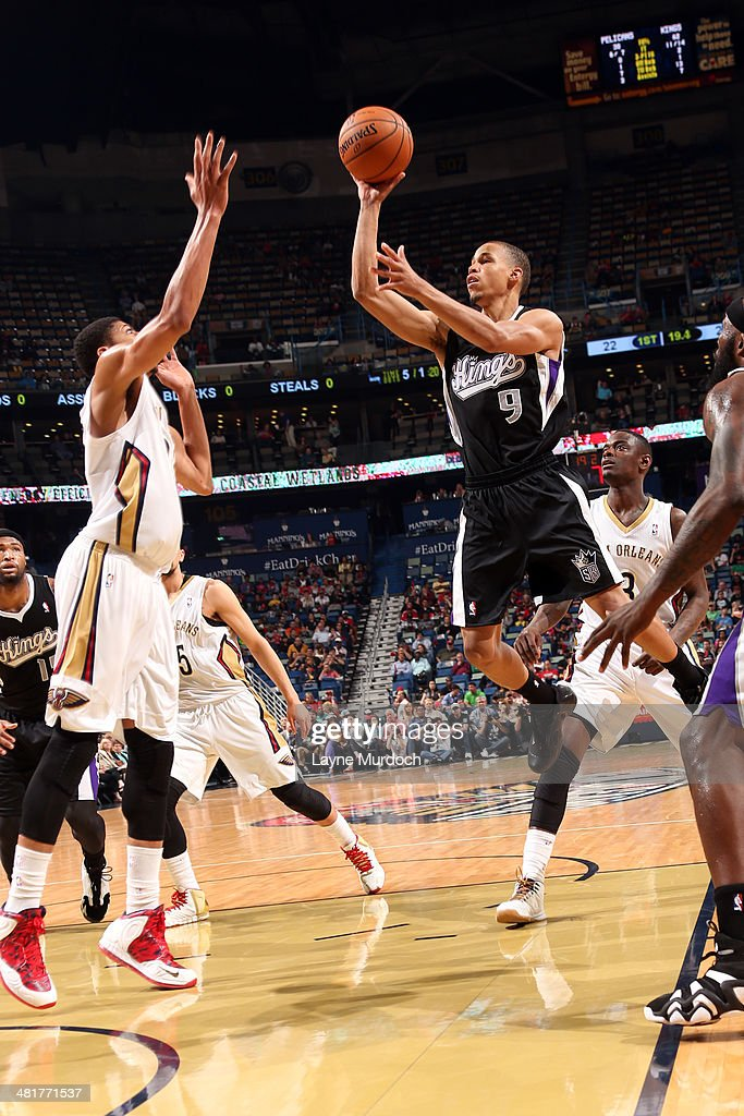 Jared Cunningham #9 of the Sacramento Kings takes a shot against the New Orleans Pelicans on March 31, 2014 at the Smoothie King Center in New Orleans, Louisiana.