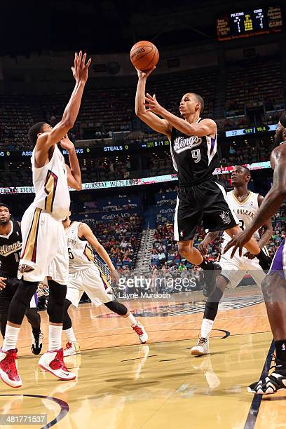 Jared Cunningham of the Sacramento Kings takes a shot against the New Orleans Pelicans on March 31 2014 at the Smoothie King Center in New Orleans...