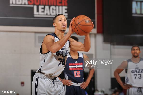 Jared Cunningham of the Utah Jazz shoots a free throw against the Washington Wizards during the 2015 NBA Las Vegas Summer League game on July 15 2015...