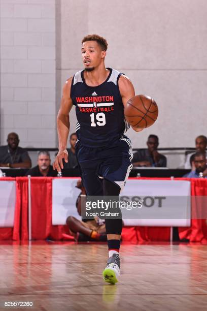 Jared Cunningham of the Washington Wizards dribbles the ball during the 2017 Las Vegas Summer League game against the Miami Heat on July 12 2017 at...