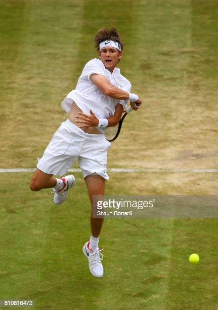 Jared Donaldson of The United States plays a forehand during the Gentlemen's Singles third round match against Dominic Thiem of Austria on day six of...