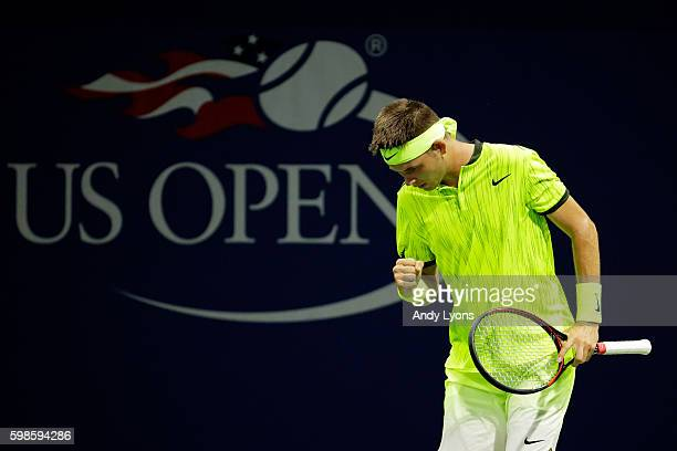 Jared Donaldson of the United States reacts against Viktor Troicki of Serbia during his second round Men's Singles match on Day Four of the 2016 US...