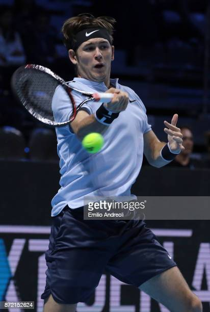 Jared Donaldson of the United States returns a forehand in his match against Daniil Medvedev of Russia during Day 3 of the Next Gen ATP Finals on...