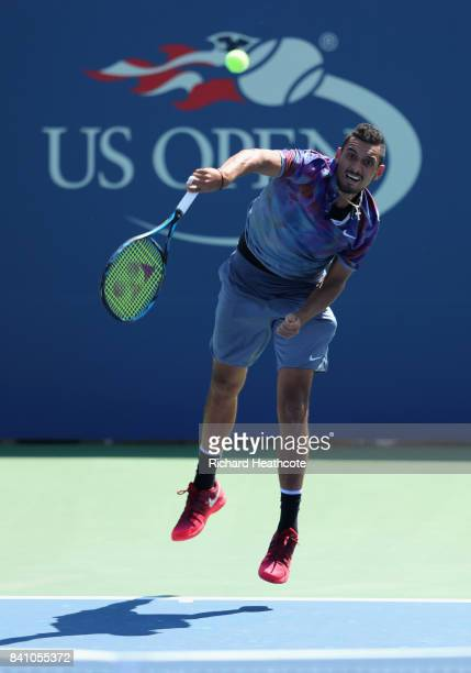 Jared Donaldson of the United States serves against Lucas Pouille of France during their first round Men's Singles match on Day Three of the 2017 US...
