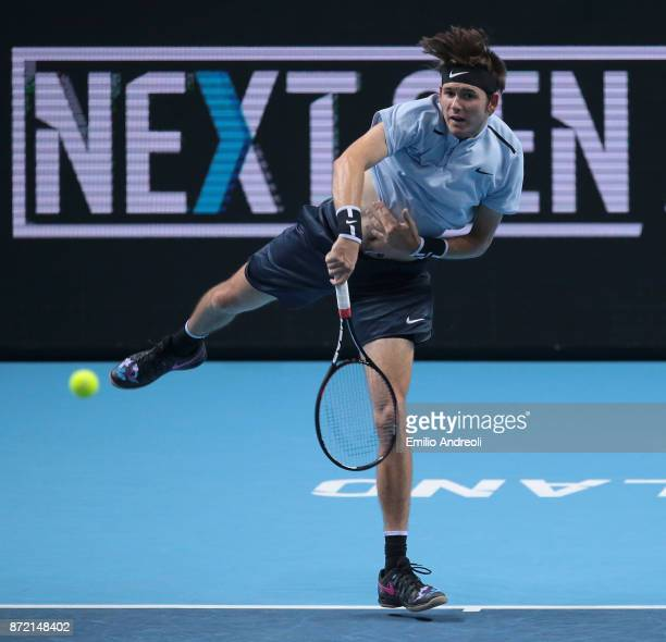 Jared Donaldson of the United States serves the ball in his match against Daniil Medvedev of Russia during Day 3 of the Next Gen ATP Finals on...
