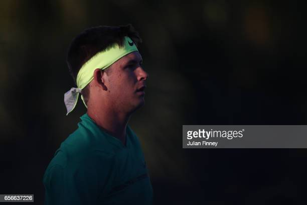 Jared Donaldson of USA looks on in his match against Kyle Edmund of Great Britain at Crandon Park Tennis Center on March 22 2017 in Key Biscayne...