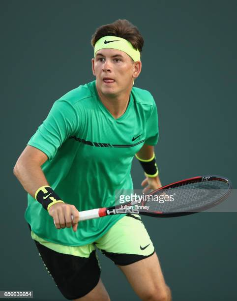 Jared Donaldson of USA runs for a shot in his match against Kyle Edmund of Great Britain at Crandon Park Tennis Center on March 22 2017 in Key...