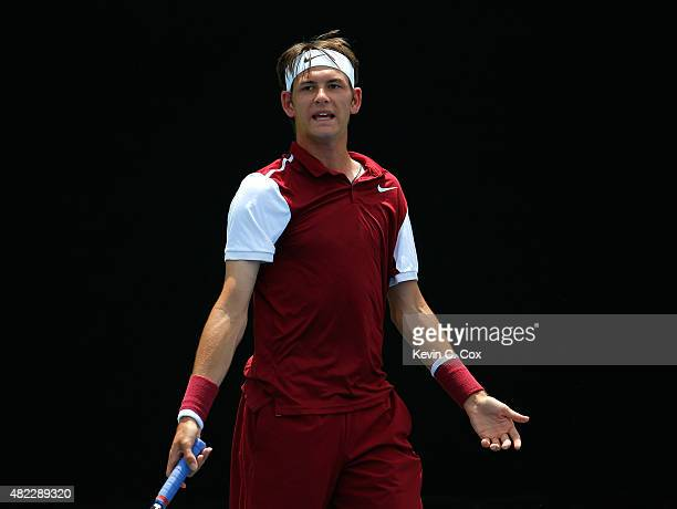 Jared Donaldson reacts during his match against Gilles Muller of Luxembourg during the BBT Atlanta Open at Atlantic Station on July 29 2015 in...