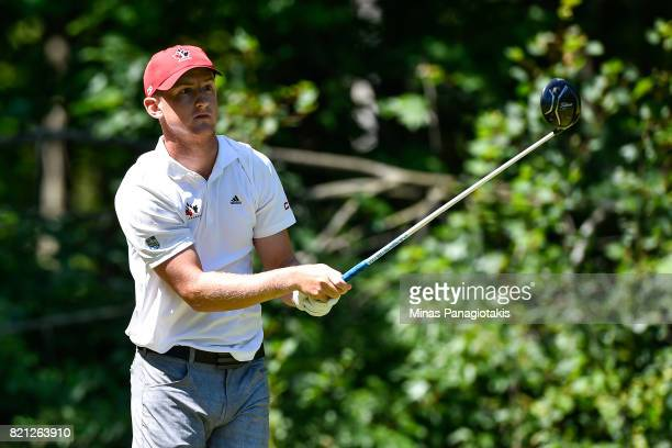 Jared du Toit of Canada hits his tee on the fifteenth hole during the final round of the Mackenzie Investments Open at Club de Golf Les Quatre...