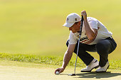 Jared du Toit of Canada lines up his putt on the sixteenth hole during round three of the 2016 RBC Canadian Open at Glen Abbey Golf Course on July 23...
