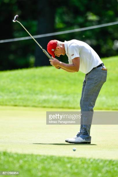 Jared du Toit of Canada reacts after missing a putt shot on the fourth hole during the final round of the Mackenzie Investments Open at Club de Golf...