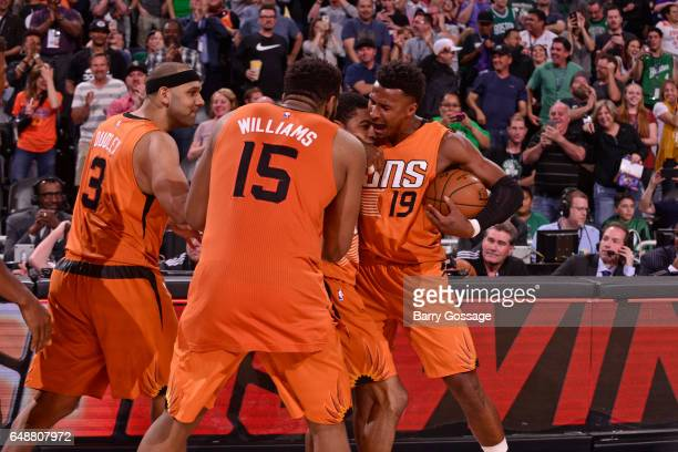 Jared Dudley Alan Williams Tyler Ulis and Leandro Barbosa of the Phoenix Suns celebrates after Ulis hits the game winner against the Boston Celtics...