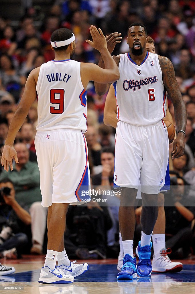 <a gi-track='captionPersonalityLinkClicked' href=/galleries/search?phrase=Jared+Dudley&family=editorial&specificpeople=224071 ng-click='$event.stopPropagation()'>Jared Dudley</a> #9 and <a gi-track='captionPersonalityLinkClicked' href=/galleries/search?phrase=DeAndre+Jordan&family=editorial&specificpeople=4665718 ng-click='$event.stopPropagation()'>DeAndre Jordan</a> #6 of the Los Angeles Clippers high five during a game against the Brooklyn Nets on November 16, 2013 at STAPLES Center in Los Angeles, California.