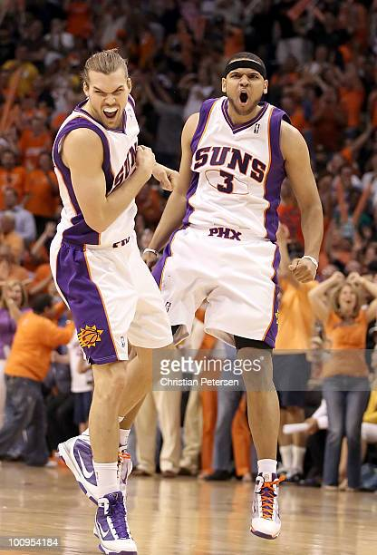 Jared Dudley and Louis Amundson of the Phoenix Suns celebrate after Dudley hit a 3 point shot against the Los Angeles Lakers in the fourth quarter of...