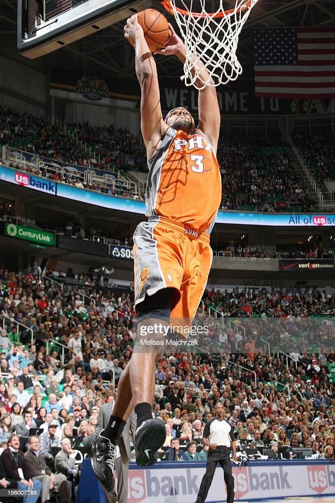 <a gi-track='captionPersonalityLinkClicked' href=/galleries/search?phrase=Jared+Dudley&family=editorial&specificpeople=224071 ng-click='$event.stopPropagation()'>Jared Dudley</a> #3 of the Phoenix Suns dunks over the Utah Jazz at Energy Solutions Arena on November 10, 2012 in Salt Lake City, Utah.