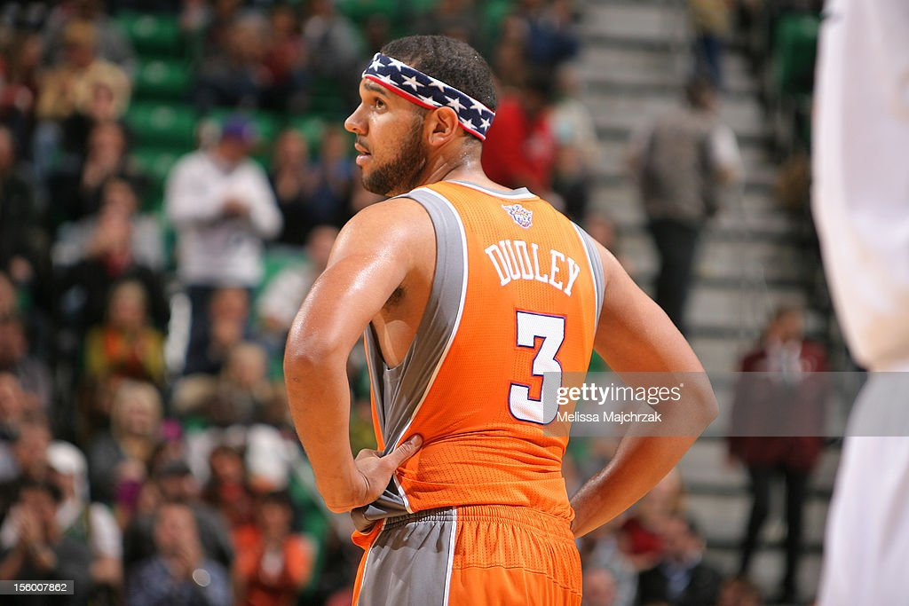 <a gi-track='captionPersonalityLinkClicked' href=/galleries/search?phrase=Jared+Dudley&family=editorial&specificpeople=224071 ng-click='$event.stopPropagation()'>Jared Dudley</a> #3 of the Phoenix Suns during his game against the Utah Jazz at Energy Solutions Arena on November 10, 2012 in Salt Lake City, Utah.