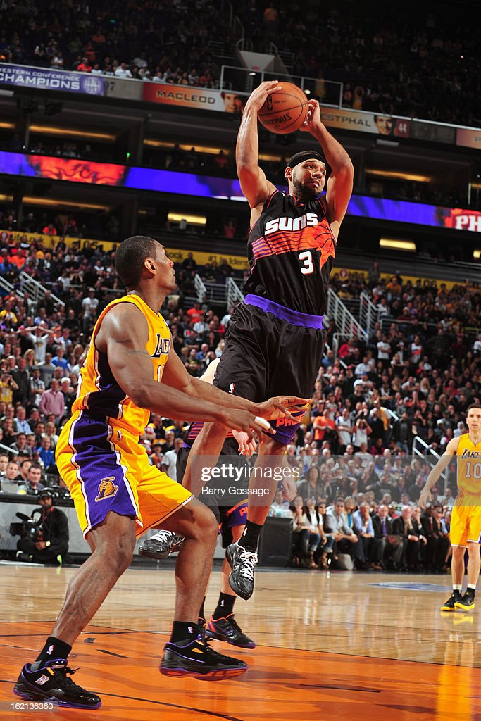 <a gi-track='captionPersonalityLinkClicked' href=/galleries/search?phrase=Jared+Dudley&family=editorial&specificpeople=224071 ng-click='$event.stopPropagation()'>Jared Dudley</a> #3 of the Phoenix Suns grabs a rebound against the Los Angeles Lakers on January 30, 2013 at U.S. Airways Center in Phoenix, Arizona.