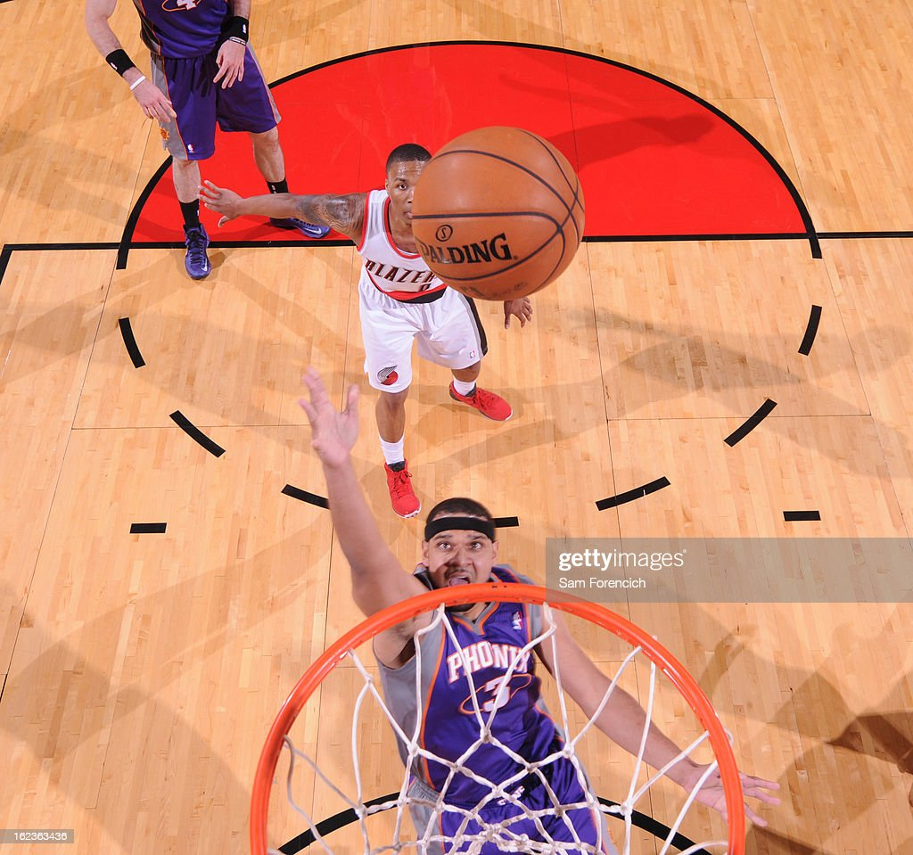 <a gi-track='captionPersonalityLinkClicked' href=/galleries/search?phrase=Jared+Dudley&family=editorial&specificpeople=224071 ng-click='$event.stopPropagation()'>Jared Dudley</a> #3 of the Phoenix Suns grabs a rebound against the Portland Trail Blazers on February 19, 2013 at the Rose Garden Arena in Portland, Oregon.