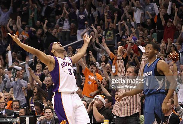Jared Dudley of the Phoenix Suns reacts after hitting a three point shot over Wesley Johnson of the Minnesota Timberwolves during the NBA game at US...
