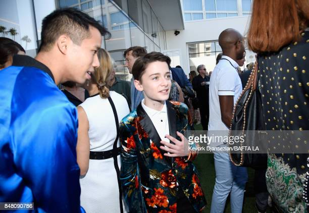 Jared Eng and Noah Schnapp attend the BBC America BAFTA Los Angeles TV Tea Party 2017 at The Beverly Hilton Hotel on September 16 2017 in Beverly...