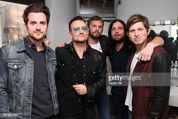 Jared Followill Bono Caleb Followill Nathan Followill and Matthew Followill visit 'Late Show With David Letterman' at the Ed Sullivan Theater on...