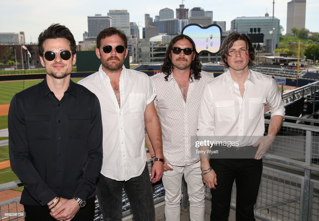 Jared Followill, Caleb Followill, Nathan Followill and Matthew Followill of Kings of Leon attend an announcement of an upcoming concert at First Tennessee Park on April 13, 2017 in Nashville, Tennessee. The concert will be on September 29th and is the first concert to be held at First Tennessee Park.