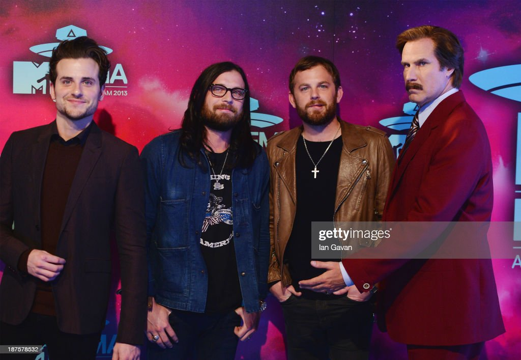 Jared Followill Nathan Followill and Caleb Followill of Kings of Leon and Will Ferrell as Anchorman's Ron Burgundy attend the MTV EMA's 2013 at the...