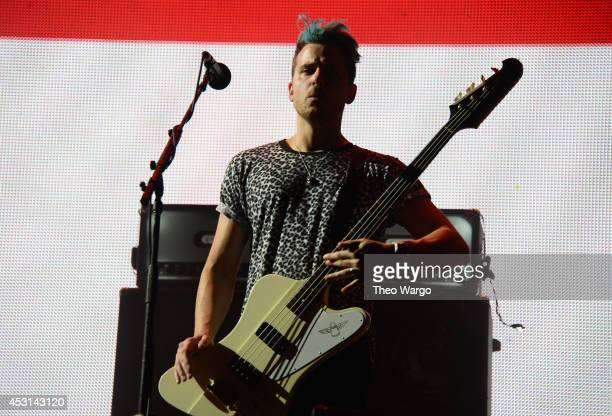 Jared Followill of Kings of Leon performs at Samsung Galaxy stage during 2014 Lollapalooza Day Three at Grant Park on August 3 2014 in Chicago...