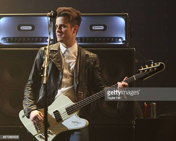 Jared Followill of Kings of Leon performs in concert during the 'Mechanical Bull' tour at Philips Arena on February 5 2014 in Atlanta Georgia