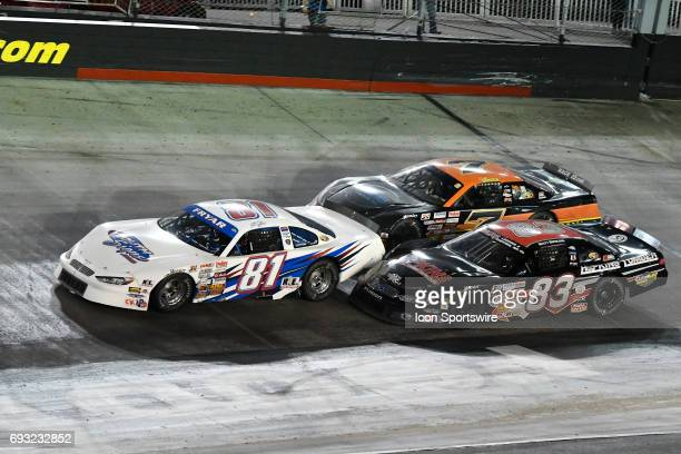Jared Fryar Ford Fusion races Matt Bowling Ford Fusion and Justin Crider Chevrolet SS in the Short Track US Nationals LeftTurnsandSunburnscom 100...