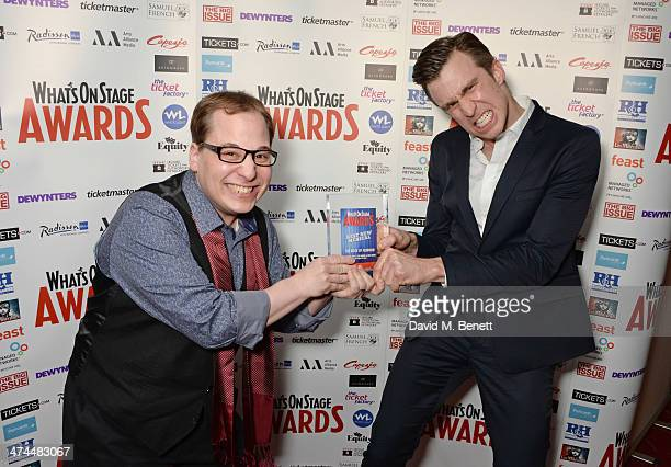 Jared Gertner and Gavin Creel accepting the award for Best New Musical on behalf of 'The Book Of Mormon' pose in the press room at the WhatsOnStage...