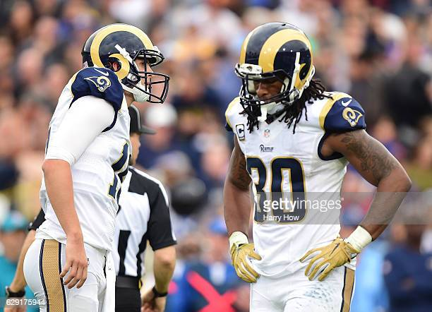 Jared Goff and Todd Gurley of the Los Angeles Rams react to an incompletion during the second quarter against the Atlanta Falcons at Los Angeles...