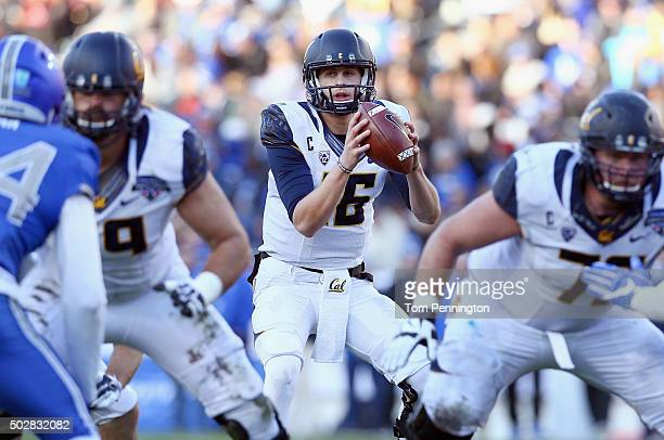 Jared Goff of the California Golden Bears looks for an open receiver against the Air Force Falcons in the second half of the Lockheed Martin Armed...