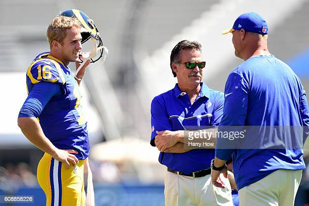 Jared Goff of the Los Angeles Rams and head coach Jeff Fisher before the game between the Los Angeles Rams and the Seattle Seahawks at Los Angeles...
