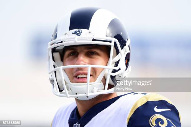 Jared Goff of the Los Angeles Rams is seen before the game against the Houston Texans at the Los Angeles Memorial Coliseum on November 12 2017 in Los...