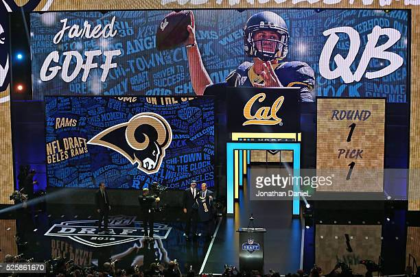Jared Goff poses with Roger Goodell after being drafted by the Los Angeles Rams during the 2016 NFL Draft at the Auditorium Theater on April 28 2016...