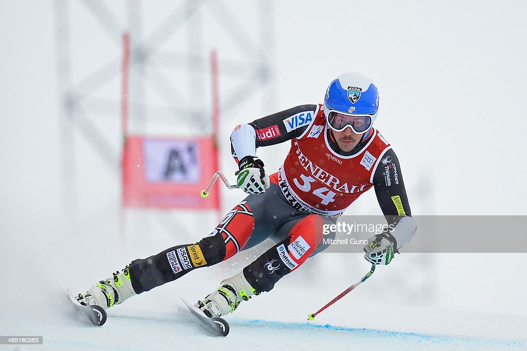 Jared Goldberg of The USA competes in the Super G stage on the Hahnenkamm Course during the Audi FIS Alpine Ski World Cup Super Combined race on January 26, 2013 in Kitzbuhel, Austria.