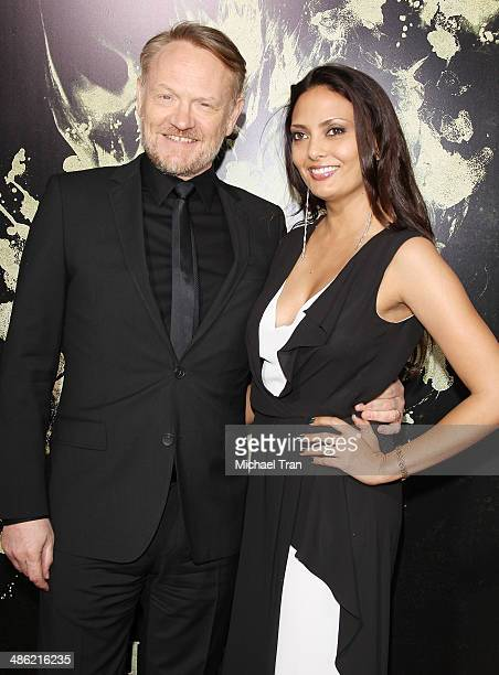 Jared Harris and Allegra Riggio arrive at the Los Angeles Premiere of 'The Quiet Ones' held at The Theatre at Ace Hotel on April 22 2014 in Los...