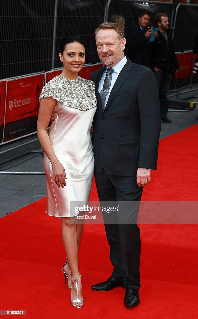 <a gi-track='captionPersonalityLinkClicked' href=/galleries/search?phrase=Jared+Harris&family=editorial&specificpeople=228170 ng-click='$event.stopPropagation()'>Jared Harris</a> and Allegra Riggio attend the UK film premiere of 'The Quiet Ones' at Odeon West End on April 1, 2014 in London, England.