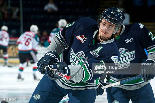Jared Hauf of Seattle Thunderbirds warms up against the Kelowna Rockets on January 16 2015 at Prospera Place in Kelowna British Columbia Canada