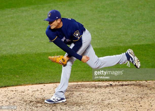 Jared Hughes of the Milwaukee Brewers in action against the New York Mets at Citi Field on May 31 2017 in the Flushing neighborhood of the Queens...