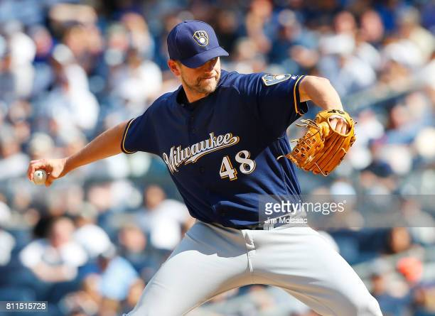 Jared Hughes of the Milwaukee Brewers in action against the New York Yankees at Yankee Stadium on July 9 2017 in the Bronx borough of New York City...