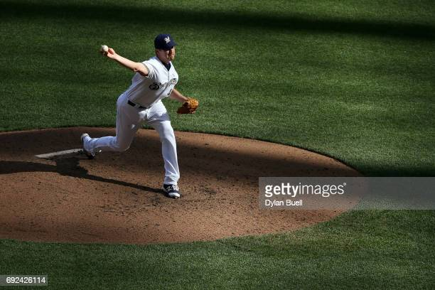 Jared Hughes of the Milwaukee Brewers pitches in the sixth inning against the Los Angeles Dodgers at Miller Park on June 3 2017 in Milwaukee Wisconsin