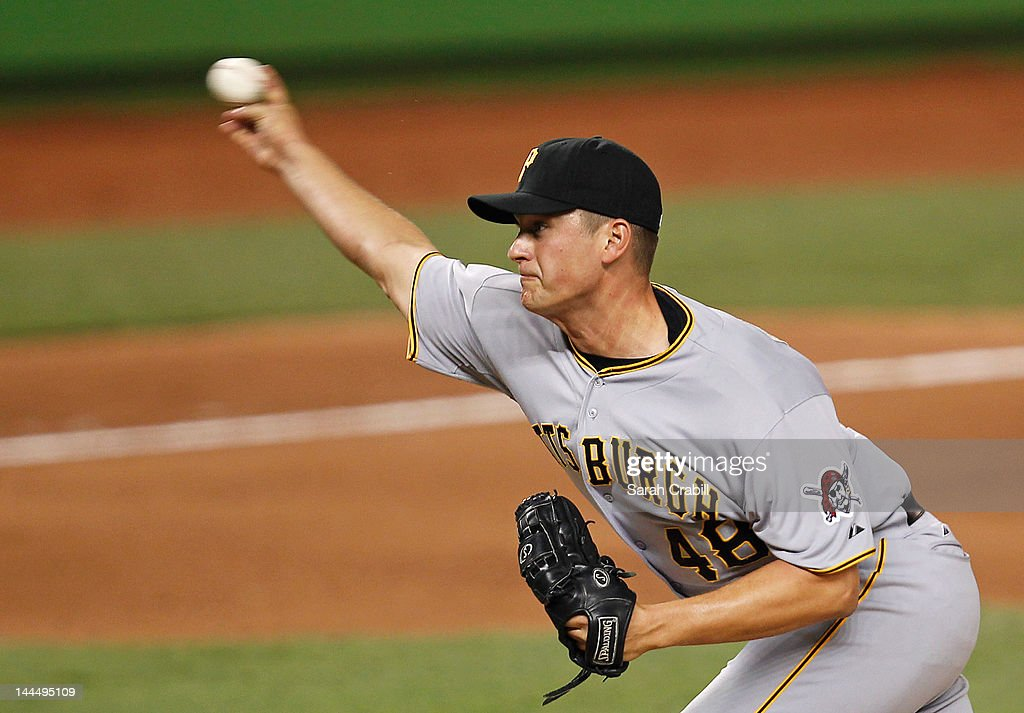Jared Hughes #48 of the Pittsburgh Pirates pitches during a game against the Miami Marlins at Marlins Park on May 14, 2012 in Miami, Florida. The Pirates defeated the Marlins 3-2.
