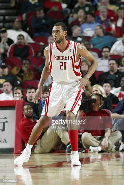 Jared Jeffries of the Houston Rockets defends against the Toronto Raptors during the game on March 1 2010 at the Toyota Center in Houston Texas The...