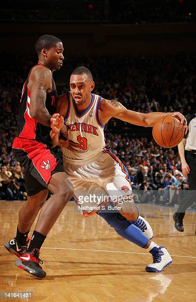 Jared Jeffries of the New York Knicks drives to the basket during the game against the Toronto Raptors on March 20 2012 at Madison Square Garden in...