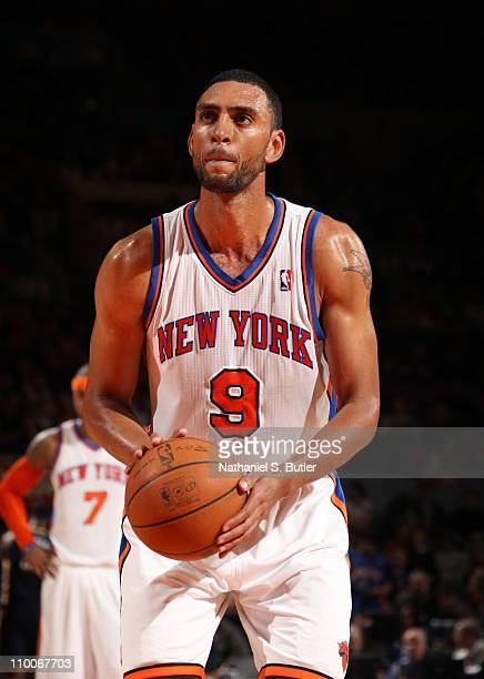 Jared Jeffries of the New York Knicks shoots a free throw during the game against the Indiana Pacers on March 13 2011 at Madison Square Garden in New...