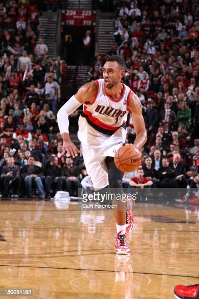 Jared Jeffries of the Portland Trail Blazers drives to the basket down court against the Chicago Bulls on November 18 2012 at the Rose Garden Arena...